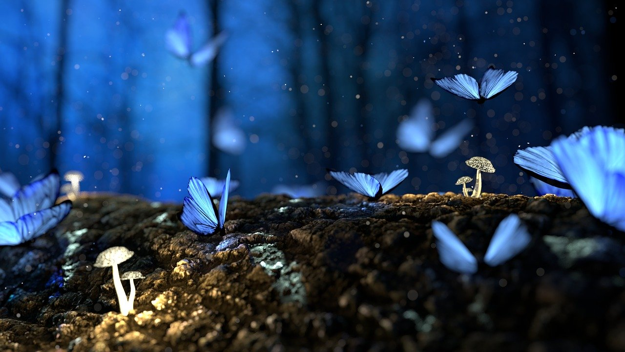 A magical woodland at dusk with glowing mushrooms and blue butterflies