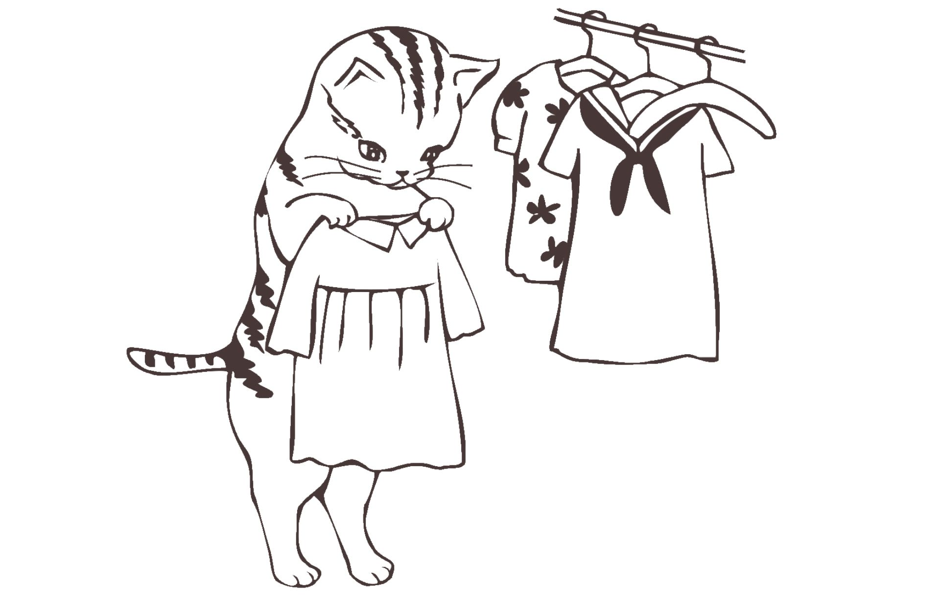 Cat holding up a dress by a rail of clothes
