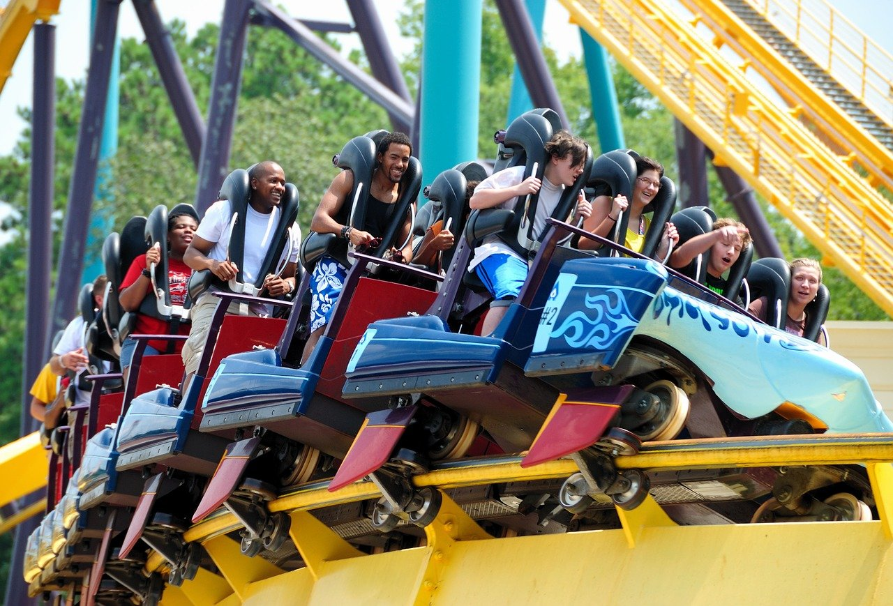 Group of people on a roller coaster